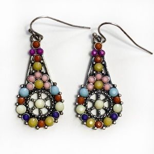 Jewelry - Dangle Earrings With Colored Stones